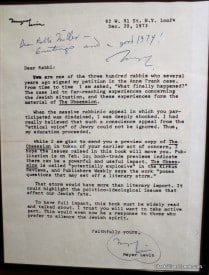 Meyer Levin letter in Berkeley Rep lobby