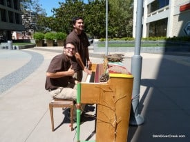 Performers try out one of the 16 street pianos in San Jose