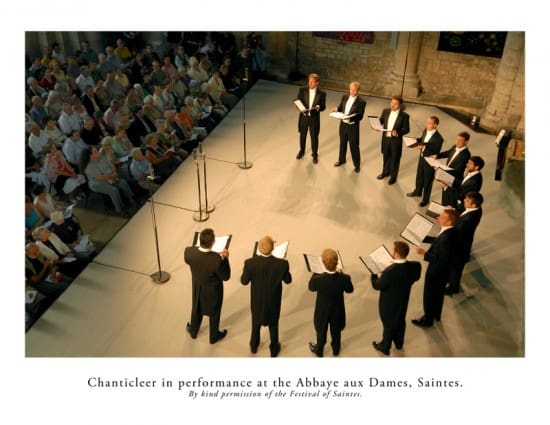 Chanticleer in performance at the Abbaye aux Dames, Saintes (by kind permission of the Festival of Saintes).