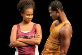 Photo by Kevin Berne Lakisha May as Oya and Isaiah Johnson as Shango in Tarell Alvin McCraney's In the Red and Brown Water at Marin Theatre Company, Part One of The Brother/Sister Plays.