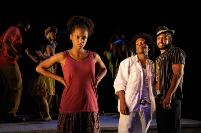Lakisha May as Oya, Jared McNeill as Elegba, and Daveed Diggs as The Ogungun in Tarell Alvin McCraney's In the Red and Brown Water at Marin Theatre Company, Part One of The Brother/Sister Plays. Photo by Kevin Berne.