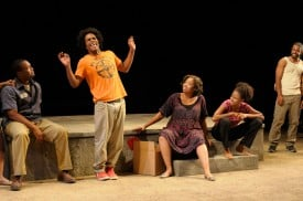 Ryan Vincent Anderson, Jared McNeill, Dawn L. Troupe, Lakisha May, and Daveed Diggs in Tarell Alvin McCraney's In the Red and Brown Water at Marin Theatre Company, Part One of The Brother/Sister Plays. Photo by Kevin Berne.