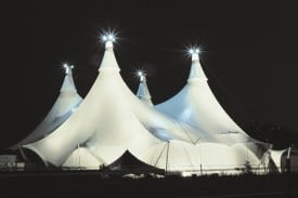 CAVALIA's White Big Top will be raised by AT&T Park in San Francisco. This one-of-a-kind tent is long enough to allow the horses to get to a full gallop as they soar past astonished audience members.  Photo Credit: Guy Deschênes