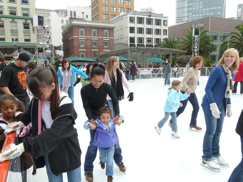 Children from the Boys & Girls Clubs of San Francisco skating at the 2009 Safeway Holiday Ice Rink in Union Square