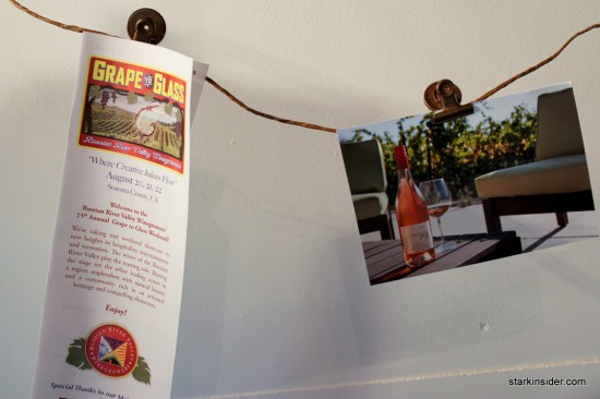 As part of the Grape to Glass festivities there was a photo contest. The winners were displayed in a rustic room which welcomed guested with some more Iron Horse sparkling wines to taste.