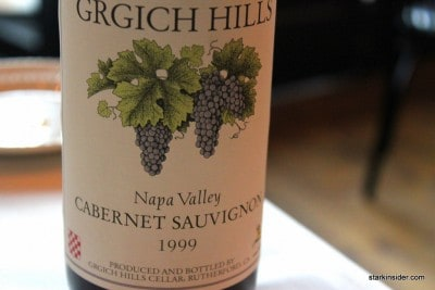 1999 Cabernet Sauvignon from Grgich Hills in Napa Valley from the Stark's wine cellar.