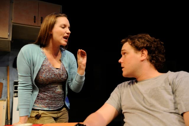 Halsey Varady and Robert Brewer* in the the Regional Premiere of Reasons To Be Pretty at San Jose Stage Company (left to right). Photo by Dave Lepori.