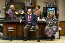 l-r Arthur Przybyszewski (Howard Swain), Max Tarasov (Søren Oliver), Randy Osteen (Julia  Brothers), and Lady Boyle (Joan Mankin) in the  regional premiere of SUPERIOR DONUTS at  TheatreWorks.  Photo Credit: Tracy Martin