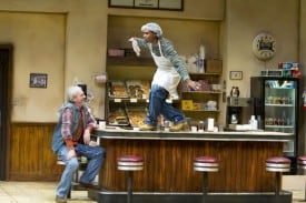 l-r Arthur (Howard Swain) and Franco (Lance  Gardner) in the regional premiere of SUPERIOR  DONUTS at TheatreWorks.  Photo Credit: Tracy Martin