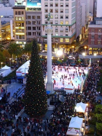 Ice skaters at the Safeway Holiday Ice Rink in Union Square during the 2009 tree lighting ceremony
