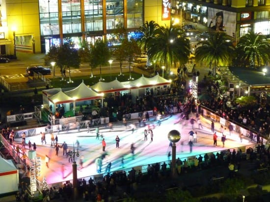 Aerial view of the 2009 Safeway Holiday Ice Rink in Union Square