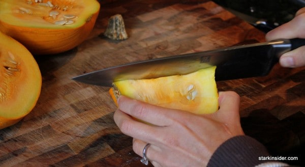 Slicing a pumpkin