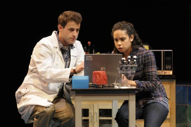 James Wagner and Kathryn Tkel in the Regional Premiere of the biomedical thriller Secret Order at San Jose Repertory Theatre. Photo: Kevin Berne