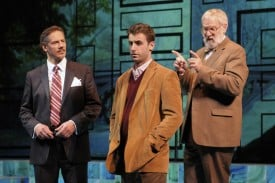 (l to r) Robert Krakovski, James Wagner and Julian Lopez-Morillas in the Regional Premiere of the biomedical thriller Secret Order at San Jose Repertory Theatre.