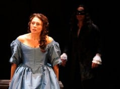 Natacha Roi playing Aphra Behn and Ben Huber playing King Charles II at Magic Theatre. Written by Liz Duffy Adams, directed by Loretta Greco. Photo by Jennifer Reiley.