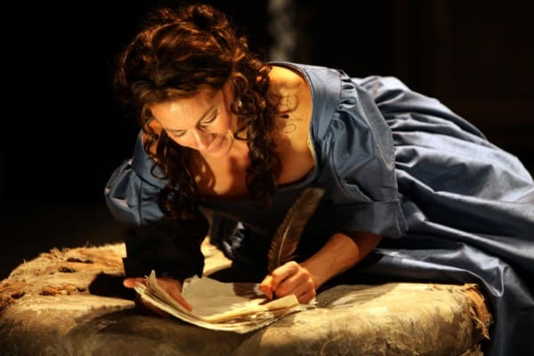 Natacha Roi as Aphra Behn at Magic Theatre. Written by Liz Duffy Adams, directed by Loretta Greco. Photo by Jennifer Reiley.