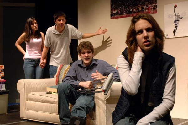 (l to r) Amalia Mesa-Gustin, Kim Fischer, Spencer Fortin and Hallie Sekoff perform in Lauren Yee's script, Joey Buttafuoco Eats a Pastrami Sandwich, one of two winners in the annual Teen One-Acts Festival. Photographer: Kevin Berne