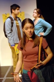 (l to r) York Ng, Kacey Berry and Jenny Leon perform in Liz Phelps' script, Synesthesia, one of two winners in the annual Teen One-Acts Festival. Photographer: Kevin Berne