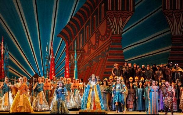 Hao Jiang Tian (Ramfis), Dolora Zajick (Amneris), Christian Van Horn (The King of Egypt), Marcello Giordani (Radames), Micaela Carosi (Aida) and Marco Vratogna (Amonasro) with the San Francisco Opera Chorus photo by Cory Weaver