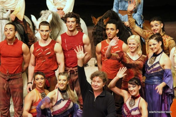 Normand Latourelle (center), co-founder of Cirque du Soleil, with the cast of Cavalia