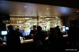 The bar is a hot spot with its expanse and mood lighting