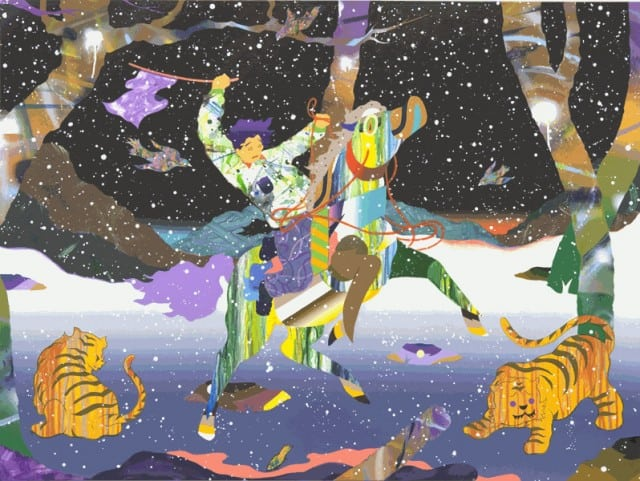 Runnin Further Deeper Study 6 2010 Mixed Media on canvas 36 x 48 92 x 122 cm. Tomokazu Matsuyama.
