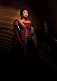 Jouvanca Jean-Baptiste as the fiery opera diva in Puccini's passionate, political thriller Tosca at Opera San José. Photo by Chris Ayers