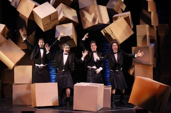 Stephen Bent as Zossima, Paul Magid as Dimitri, Roderick Kimball as Pavel, and Mark Ettinger as Alexei in The Flying Karamazov Brothers' production of 4Play at San Jose Repertory Theatre.
