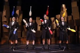 Paul Magid as Dimitri, Roderick Kimball as Pavel, Stephen Bent as Zossima, and Mark Ettinger as Alexai in The Flying Karamazov Brothers' production of 4Play at San Jose Repertory Theatre.