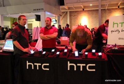HTC showing off their latest smart phones.
