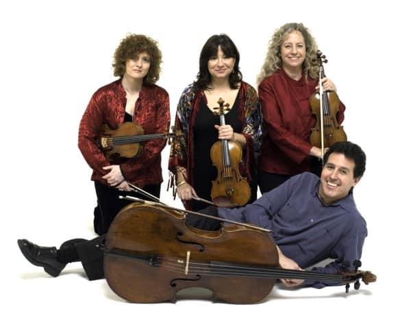 The Ives Quartet, left to right:  Jodi Levitz, viola, Bettina Mussumeli, violin, Susan Freier, violin, and Stephen Harrison, cello.