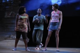 Terrell (Jared McNeill) follows Shaunta Iyun (A.C.T. Master of Fine Arts Program alumna Omozé Idehenre, left) and Osha (A.C.T. Master of Fine Arts Program student Shinelle Azoroh) into the bayou. Photo by Kevin Berne.