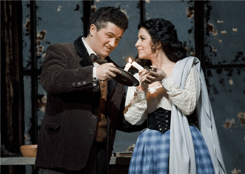 Piotr Beczala (Rodolfo) and Angela Gheorghiu (Mimì) in La Bohème. Photo by Terrence McCarthy.