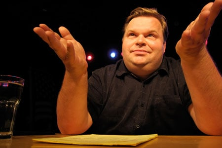 In 2011, Mike Daisey debuts two audacious new monologues at Berkeley Rep: The Last Cargo Cult and The Agony and the Ecstasy of Steve Jobs. Photographer: Ursa Waz
