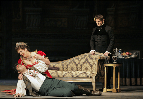 Carlo Ventre (Cavadarossi), Adrianne Pieczonka (Floria Tosca) and Lado Ataneli (Scarpia) in Tosca. Photo by Cory Weaver.
