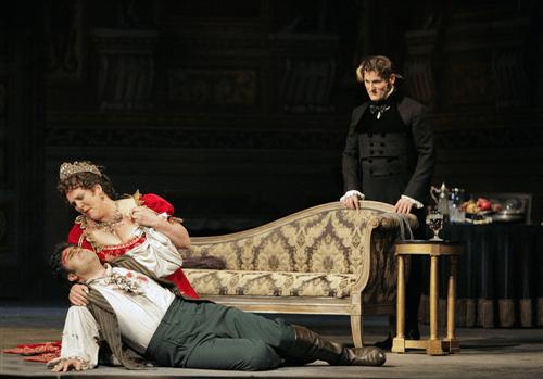 Carlo Ventre (Cavadarossi), Adrianne Pieczonka (Floria Tosca) and Lado Ataneli (Scarpia) in Tosca. Photo by Cory Weaver.