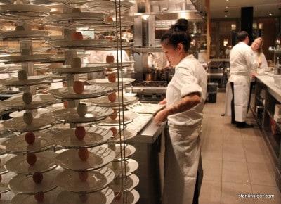 Many eggs, many truffles. Deborah Yee-Henen in the background preparing her pastry course.