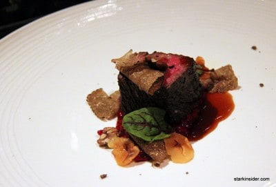 Zabouton, Barolo Vialone Nano Risotto with Roasted Beets, Burgundy Truffles, Beef Jus by Nancy Oakes of Boulevard in San Francisco. Paired with Paradigm Cabernet Sauvignon, Oakville 2001.
