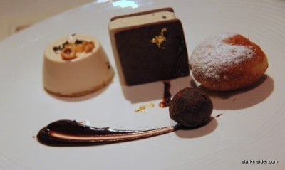 Warm Beignet with White Chocolate Truffle Sauce, Panna Cotta with Hazelnut Anglaise and Burgundy Truffle, Chestnut Truffle Ice Cream Sandwich by Deborah Yee-Henen, Pastry Chef at La Toque in Napa.