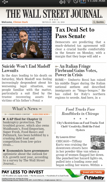 Wall Street Journal review on Samsung Galaxy Tab