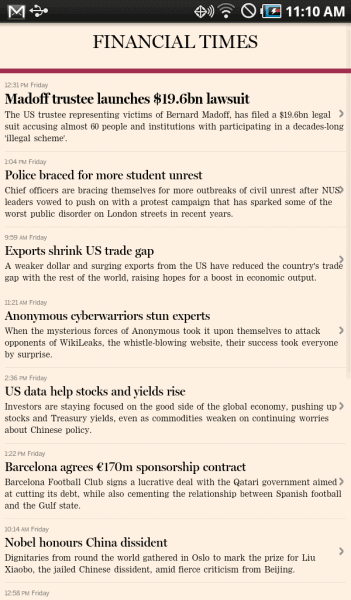 Financial Times Mobile Android Tablet
