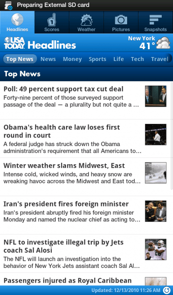 USA Today on Galaxy Tab