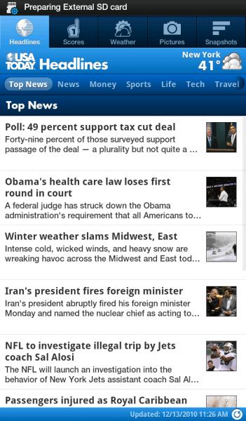 USA Today on Galaxy Tab