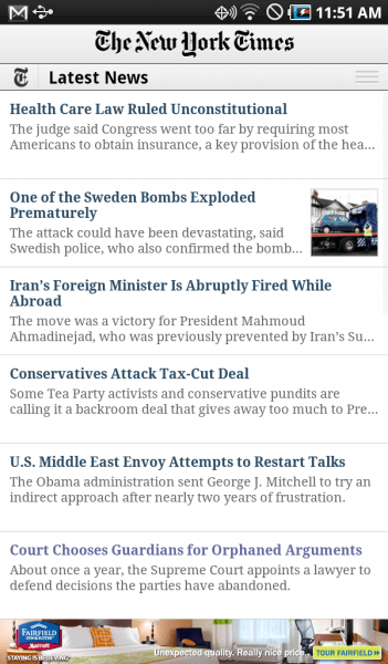 The New York Times Android app