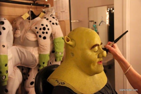 The transformation involves paint, makeup, various fittings, a fat suit, and lots of skill! Total time to Shrek = 2 hours.