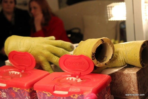 Shrek's hands... a nearby fan is used to keep them dry, kind of like hockey gloves!