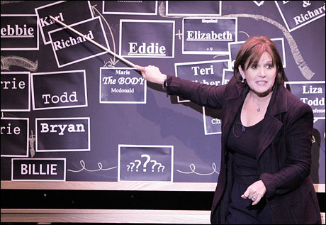 Carrie Fisher details her family tree in her one-woman show Wishful Drinking. photo by Michael Lamont