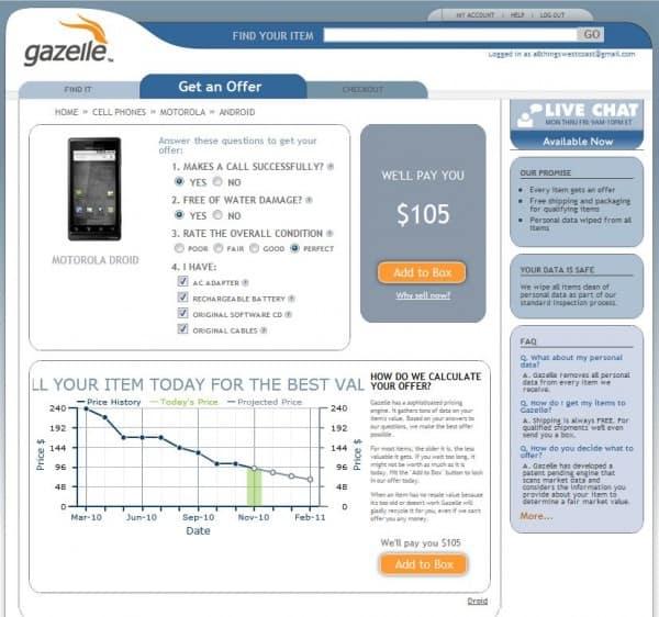 Gazelle cash value Motorola Droid