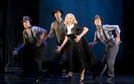 Benjie Randall, Matthew LaBanca, Anna Aimee White and James Patterson, in San Jose Repertory Theatre's Co-Production of Backwards in High Heels. Photo by Tim Fuller.