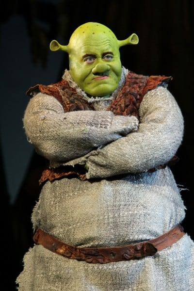 The finished product: Eric Petersen as Shrek. Photo by Joan Marcus.